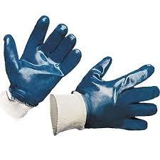 Перчатки облитые нитрилом, манжет резинка